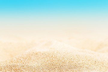 Summer tropical background with sand, sea and sky. Summertime card..