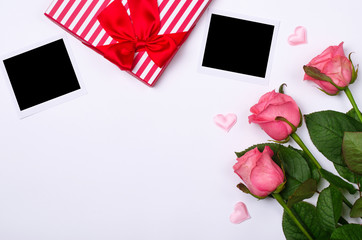 Pink roses, photos and free space for your text.