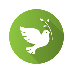 Dove with olive branch. Flat design long shadow icon