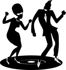 Wall Mural - Black vector silhouette of a vintage couple dancing the Twist on a vinyl record, EPS 8, no white objects