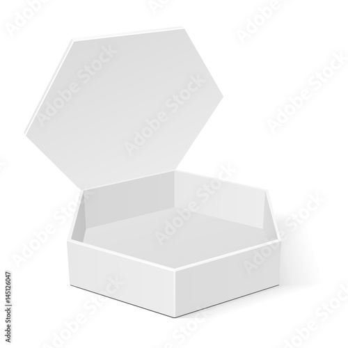 Open White Cardboard Hexagon Box Packaging For Food, Gift Or Other ...