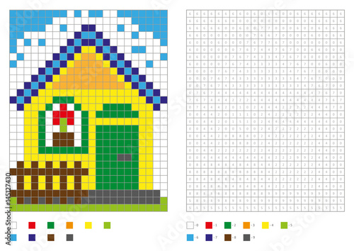 Coloring Book With Numbered Squares Kids Coloring Page Pixel