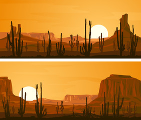 Horizontal wide banners with illustration of prairie wild west.