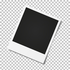 Photo frame on a transparent background. Realistic vector