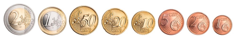 complete set of euro coins isolated on white background / Kompletter Satz Euro Münzen isoliert auf hintergrund weiß