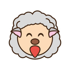 cute sheep face kawaii style vector illustration eps 10