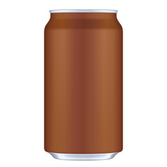 Brown Blank Metal Aluminum 330ml Beverage Drink Can. Illustration Isolated. Mock Up Template Ready For Your Design. Vector EPS10