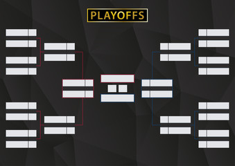 Playoffs Schedule with two Conference. Tournament Bracket on black background.