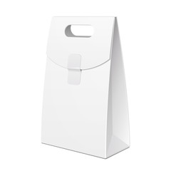 White Cardboard Carry Box Bag Packaging With Handles For Food, Gift Or Other Products. Illustration Isolated On White Background. Mock Up Template Ready For Your Design. Product Packing Vector EPS10