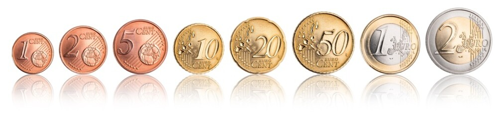 complete row of euro coins with reflection isolated on white background