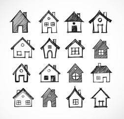 Doodle sketch houses on white background. Vector illustration.