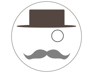 Hat, mustache and monocle. Real man style