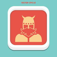 viking in horned helmet . man with beard .