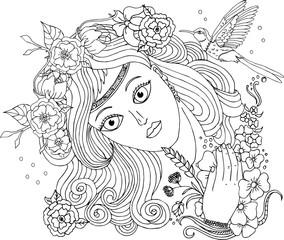 Векторное изображение красивая девушка с цветами и птицей. Раскраска для взрослых.