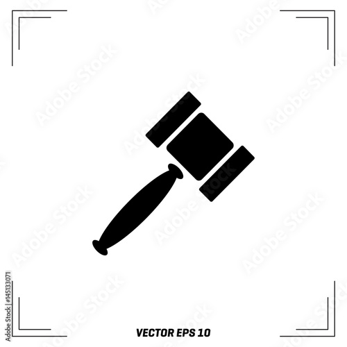 Vector Gavel Isolated Icon Auction Hammer Symbol Law Judge Gavel