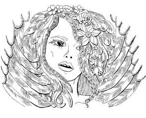 Векторное изображение красивая девушка ангел. Раскраска для взрослых.