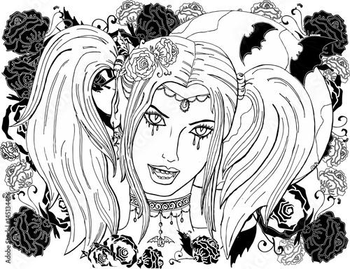 векторное изображение красивая девушка вампир раскраска для