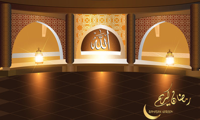 Beautiful  Ramadan background with   Beautiful interior view of a mosque decorated with Islamic motifs   ; suitable as a poster or a greeting card , Arabic script translation : Ramdan Kareem