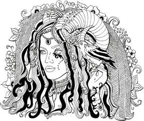 Векторное изображение красивая девушка демон. Раскраска для взрослых.