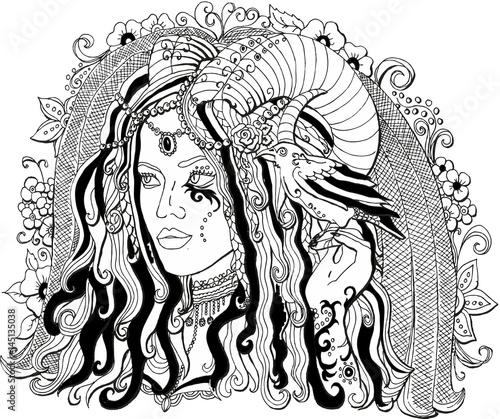 векторное изображение красивая девушка демон раскраска для