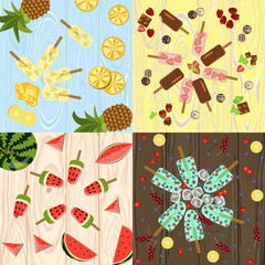 Set of Popsicles with berries and fruits on wooden background. Top view ice-cream vector illustration eps 10