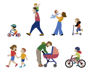 A vector illustration of families, adults, children and baby in outdoors. People on the street in different activity situation - walking, cycling isolated on white background. Character set.