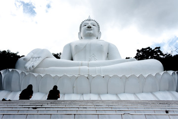 People pray to the white buddha statue