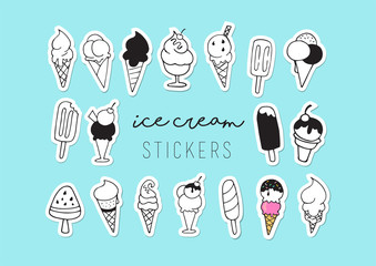 Ice cream, sweet summer collection of icons, doodles, illustations