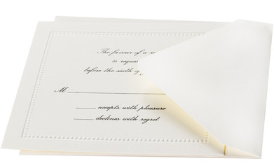 White formal invitation RSVP card and envelope isolated on white