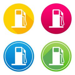 Fuel flat icon in 4 different colors and versions, with or without long shadows.