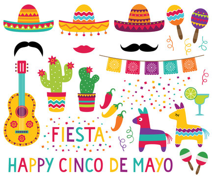 Cinco de Mayo set (sombreros, pinatas, a guitar, maracas and decoration)