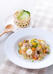 Vegetarian food, colorful fired rice, Vegan food