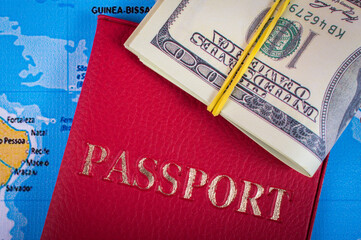 Passport and money on the card