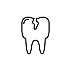 Cracked tooth flat icon, Dental and medicine, vector graphics, outline pattern on a white background.