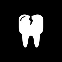 Cracked tooth flat icon, Dental and medicine, vector graphics, solid pattern on a black background.