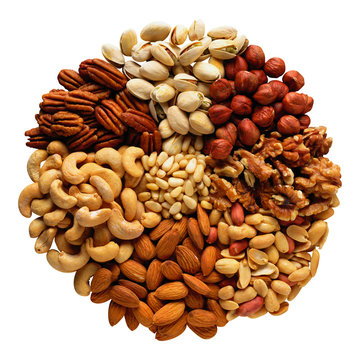 Assorted nuts in the form of a circle (peanuts, almonds, hazelnuts, pine nuts, cashews, walnuts, pistachio) isolated against the clear white background.