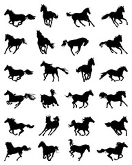 Black silhouettes of galloping horses on a white background
