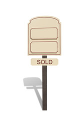 Sold Real Estate sign with shadow isolated on white with copy space