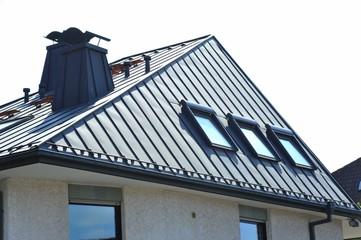 Stehfalz-Metall-Dach mit Dachfenstern und Stahl-Kaminen
