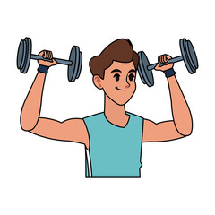 young man lifting weights sport icon image vector illustration design