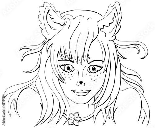 раскраска для взрослых девушка с лисьими ушами векторное