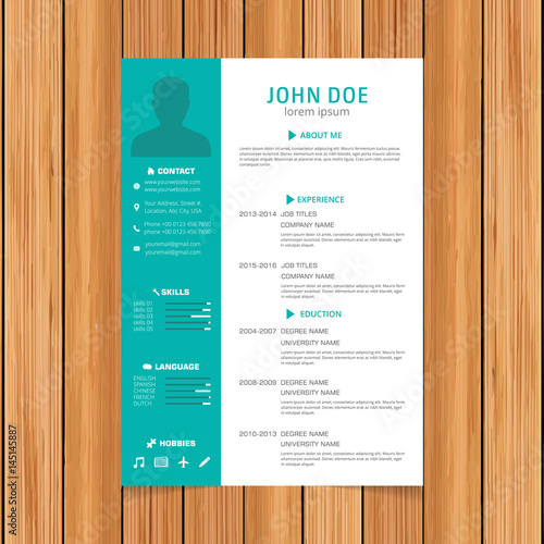 creative turquoise color resume template white green colorful free theme word
