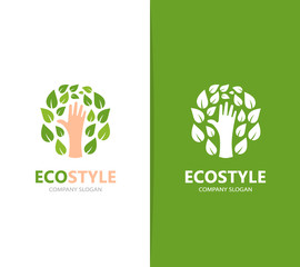 Vector of hand and leaf logo combination. Arm and eco symbol or icon. Unique organic and support logotype design template.