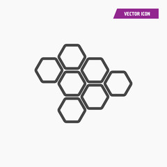 Honeycomb and bee line icon.