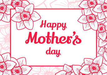 Happy Mothers Day. Vector design element. Greeting card with pink flowers, nature frame