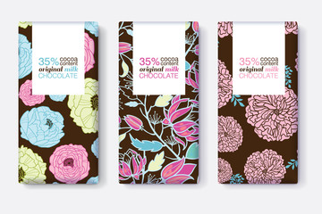 Vector Set Of Chocolate Bar Package Designs With Blue, Pink, and Brown Floral Patterns. Rectangle frame. Editable Packaging Template Collection.
