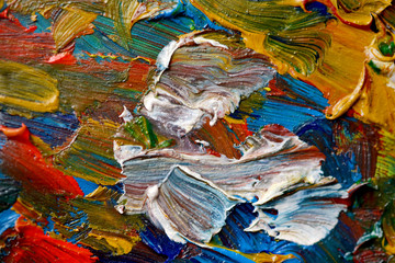 Abstract bright background with oil paint colorful smears macro