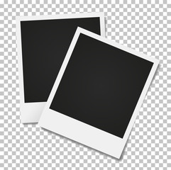 Photo frames on a transparent background.  Vintage photo frames.Realistic vector.