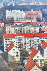 Aerial view of Szczecin city downtown, Poland