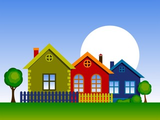 Vector illustration of home. Stylized Colorful Houses. Country Cottage.